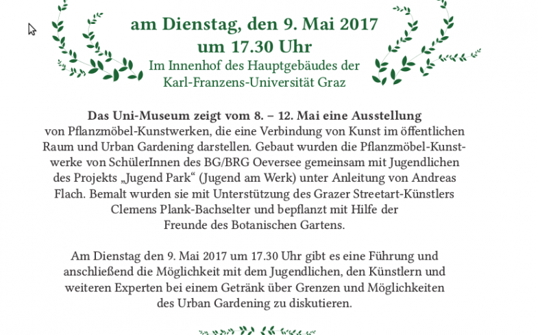 Führung und Diskussionsrunde durch die Open-Air-Ausstellung von Urban Gardening Pflanzmöbel-Kunstwerken
